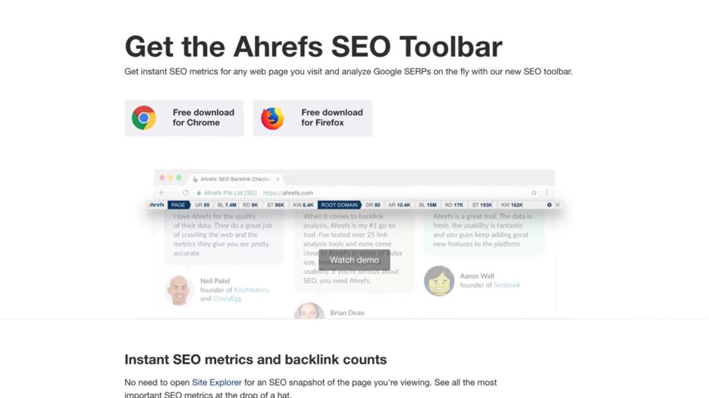 Ahrefs Google Chrome SEO Toolbar Extension