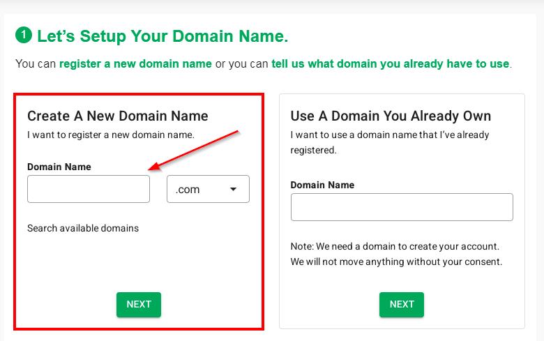 Greengeeks Hosting Creating a Domain Name