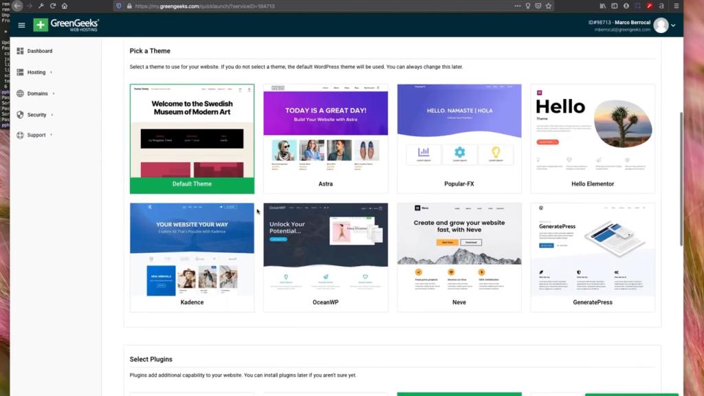 Greengeeks Hosting Choose WordPress Theme
