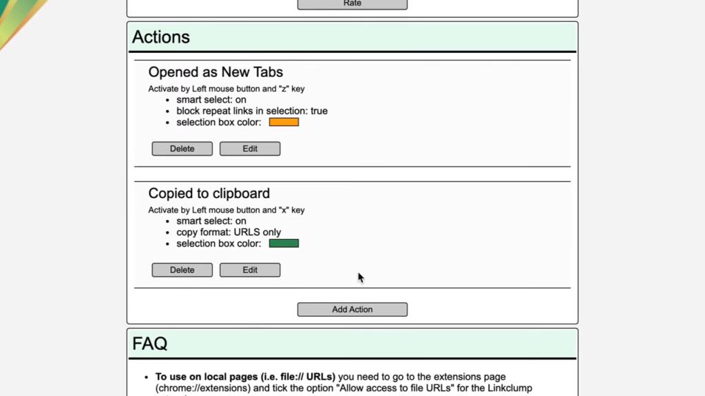 Linkclump Extension Copy Links Setting
