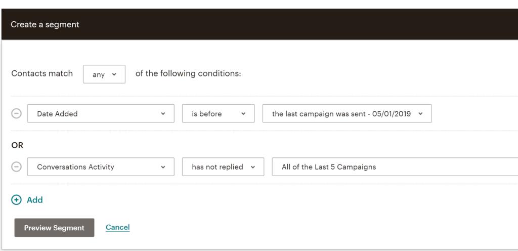 Mailchimp Segmentation Options