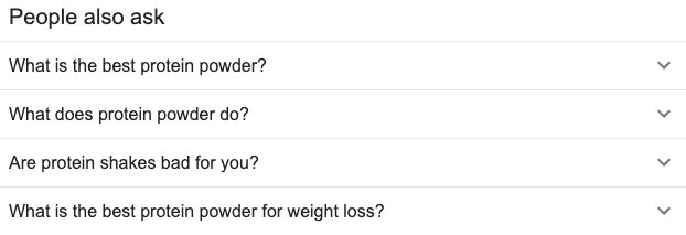 people also ask protein powder search box