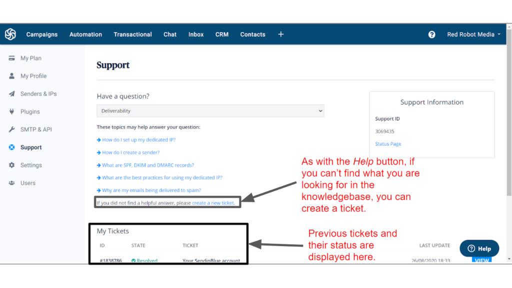 sendinblue support options